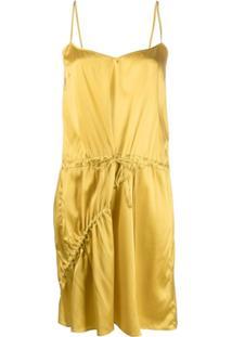 Almaz Vestido Assimétrico De Cetim - Amarelo