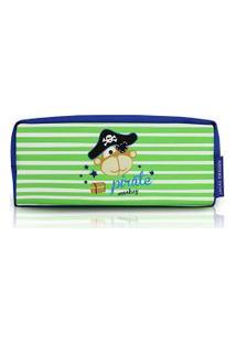 Necessaire/ Estojo Infantil Masculino Microfibra Verde E Azul Macaco Pirata (19X6X8) - Jacki Design - Tamanho Único - Verde,Azul