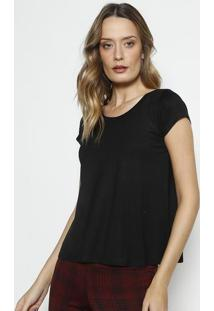 Camiseta Com Manga Curta- Preta- Blessbless