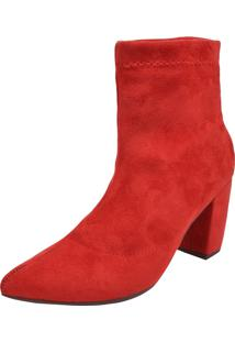 Bota Solamello Cano Curto Stretch Vermelha - Vermelho - Feminino - Camurã§A - Dafiti