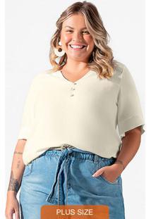Camisa Feminina Plus Size Bege