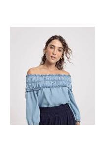 Blusa Bata Jeans Ombro A Ombro Com Elástico | Marfinno | Azul | P