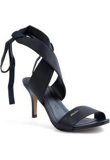 Sandalia Salto Medio Com Amarracao Preto