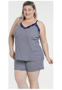 Pijama Feminino Short Doll Listrado Plus Size Marisa