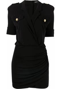 Balmain Vestido Gola V Com Detalhe De Botões Decorativos - Preto