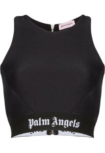 Palm Angels Blusa Cropped Com Logo - Preto