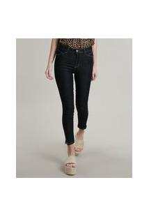 Calça Jeans Feminina Sawary Skinny Pull Up Com Fenda Azul Escuro