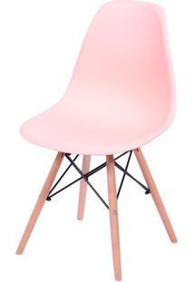 Cadeira Eames Polipropileno Salmao Base Madeira - 43038 - Sun House