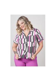 Blusa Estampada Almaria Plus Size New Umbi Gola Blazer Rosa
