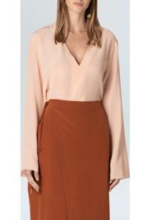 Camisa Decote V Silk-Rosa Claro - P