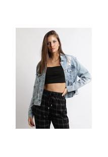 Jaqueta Jeans Feminina Destroyed Azul Claro