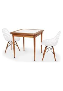 Conjunto Mesa De Jantar Em Madeira Imbuia Com Azulejo + 2 Cadeiras Vision - Branco