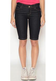 Bermuda Jeans Com Pespontos - Azul Escuromalwee