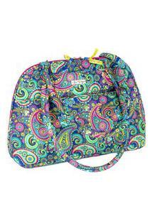 Bolsa Handbag Tecido Ombro Zíper Espaçosa Casual Azul