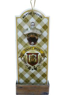 Abridor De Garrafa De Madeira Craft Beer - Multicolorido - Dafiti