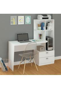 Mesa Para Computador Com 2 Gavetas E 5 Prateleiras Elisa – Permóbili - Branco