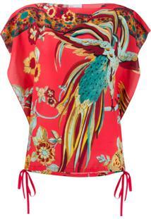 Redvalentino Blusa Com Estampa Bird Of Paradise - Rosa