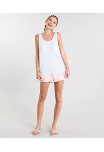 Pijama Feminino Estampado De Coelhos Regata Cinza Mescla
