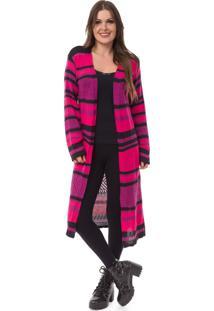 Cardigan Pink Tricot Longo Listrado Roxo Com Pink