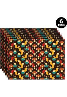 Jogo Americano Mdecore Abstrato 40X28Cm Marrom 6Pçs