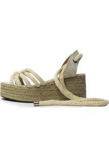 Sandália Plataforma Anabela Damannu Shoes Corda Creme Bege