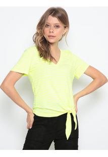 Blusa Listrada Com Amarraã§Ã£O - Verde Neon & Off White