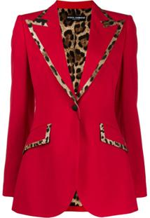 Dolce & Gabbana Blazer Com Estampa De Oncinha Na Barra - Vermelho