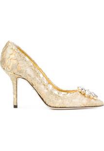 Dolce & Gabbana Scarpin 'Bellucci' Com Renda - Dourado