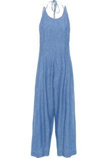 Macacão Feminino Recortes Refarm Jeans - Azul
