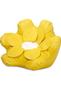 Puff Infantil Flower Courino Amarelo - Stay Puff