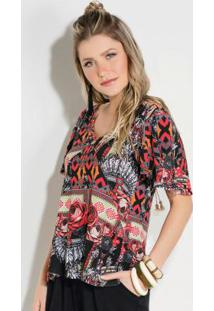 Blusa Quintess Estampa De Cocar Com Mangas