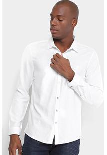 Camisa Opera Rock Manga Longa Básica Masculina - Masculino-Branco