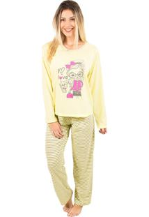 Pijama Bella Fiore Modas Longo Fran Amarelo