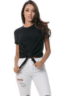 T-Shirt Pkd Cropped Com Amarração Preta Multicolorido