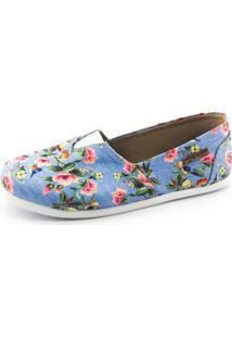 Alpargata Quality Shoes 001 Floral 797 Azul - Tricae