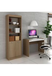 Escrivaninha E Estante Com 2 Portas Para Escritório-Ho-2952-Hecol - Avela / Branco
