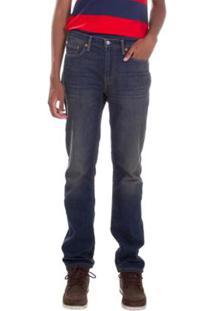 Calça Jeans Levis Straight Lavagem Escura - Masculino-Azul