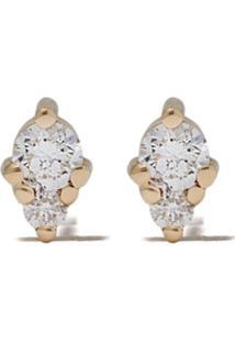 Mizuki Par De Brincos Em Ouro 14K Com Diamante - Gold