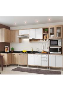 Cozinha Compacta 7 Peças Sicília 5830-S15 - Multimóveis - Argila Acetinado / Branco Acetinado