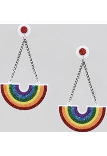 Brinco Feminino Pride Arco-Íris Com Glitter Branco - Único