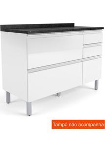 Balcão Para Cozinha Belíssima Plus 1 Pt 4 Gv Branco E Branco Cetim 120 Cm
