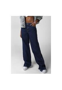 Calça Jeans Forever 21 Wide Leg Com Cinto Azul