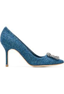 Manolo Blahnik Scarpin 'Hangisi 50' De Tweed - Azul