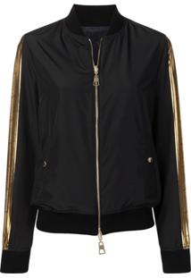 Versace Collection Black And Gold Bomber Jacket - Preto