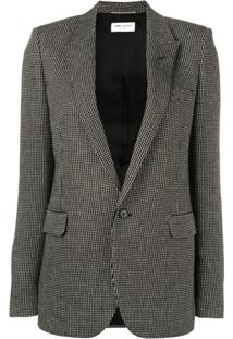 Saint Laurent Woven Single Breasted Jacket - Preto