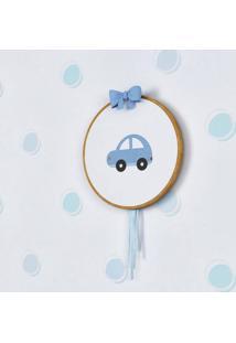Quadro Bastidor Bordado Carro Grão De Gente Azul