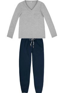 Pijama Feminino Em Malha De Viscose Com Bolso E Decote Em V