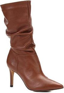 Bota Slouch Shoestock Couro Salto Alto Feminina - Feminino-Caramelo