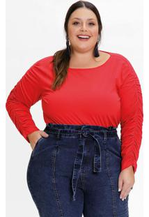 Blusa Plus Size Vermelha Com Franzido Nas Mangas