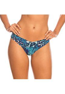 Calcinha Fio Dental Sem Costura Make Animal Print Azul | 427.021 Afro Blue - Azul - P